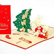 Открытки ручной работы. Ярмарка Мастеров - ручная работа 3D Открытка - Дед Мороз к нам мчится.... Handmade.