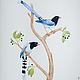 Красноклювые лазоревые сороки.  Серия Сороки, акварель, размер А4 (21х30 см), Светлана Маркина, LechuzaS