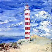 Картины и панно handmade. Livemaster - original item Lighthouse Shoyna, the White sea, Russia, oil painting. Handmade.