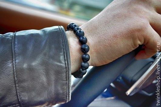 Браслеты ручной работы. Ярмарка Мастеров - ручная работа. Купить Стильный мужской браслет из натуральных камней. Handmade. Черный браслет