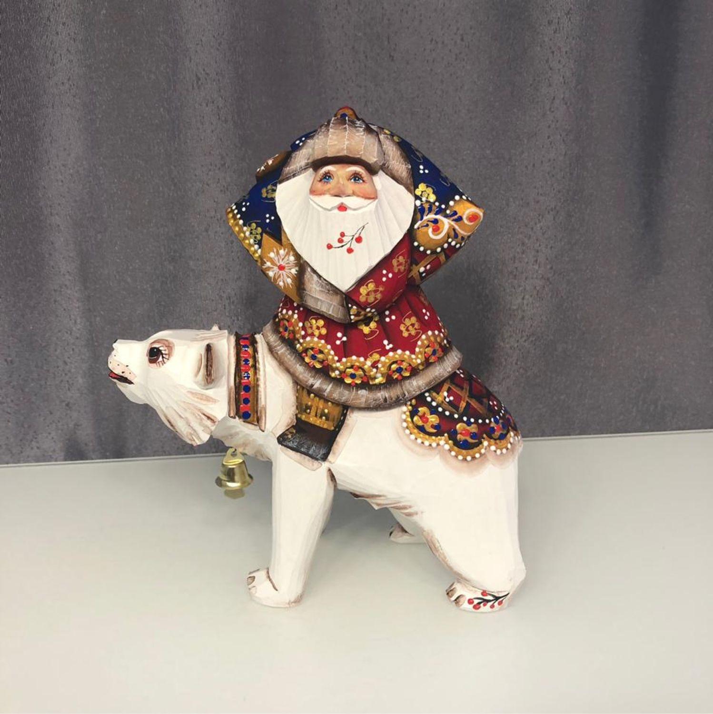 Дед Мороз деревянный на медведе, Народные сувениры, Сергиев Посад,  Фото №1