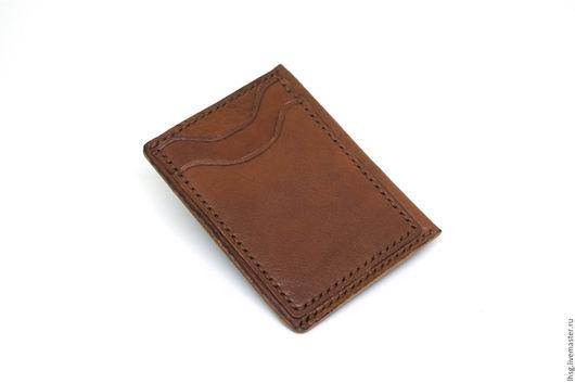 Кошельки и визитницы ручной работы. Ярмарка Мастеров - ручная работа. Купить Тонкий кожаный бумажник, мужской бумажник, картхолдер. Handmade.