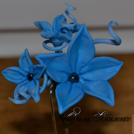 """Заколки ручной работы. Ярмарка Мастеров - ручная работа. Купить Шпилька """"Голубая мечта"""". Handmade. Синий, украшения ручной лепки"""