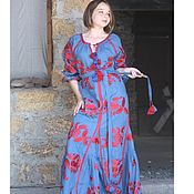 Одежда handmade. Livemaster - original item Blue Long Dress embroidery Boho Wedding dress. Handmade.