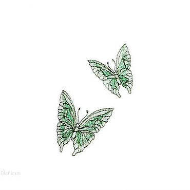"""Для дома и интерьера ручной работы. Ярмарка Мастеров - ручная работа Салфетка льняная """"Мятные бабочки"""". Handmade."""