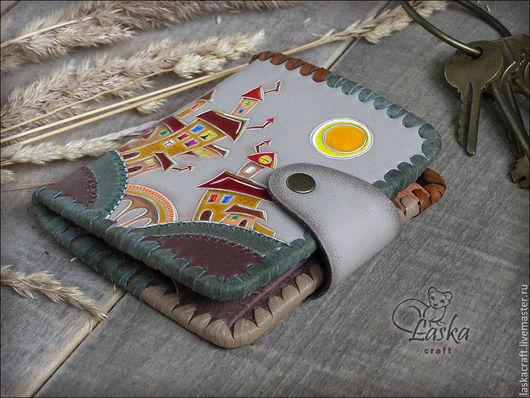 Кошельки и визитницы ручной работы. Ярмарка Мастеров - ручная работа. Купить Кожаный кошелек ручной работы «День и ночь». Handmade.