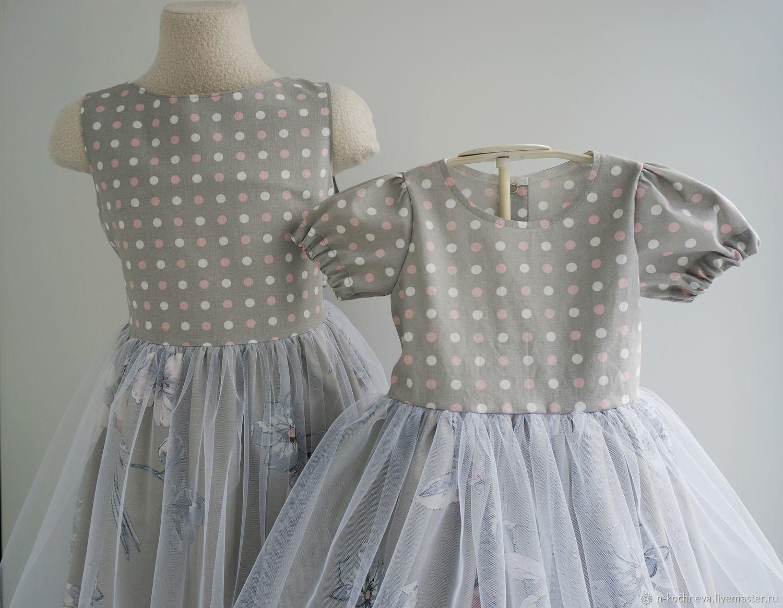 Платья для сестричек в горошек с цветами  с фатином