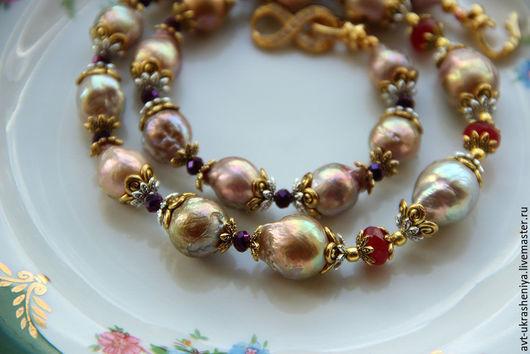 Колье, бусы ручной работы. Ярмарка Мастеров - ручная работа. Купить Ожерелье бусы жемчуг касуми аналог. Handmade. Разноцветный