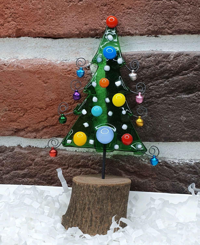 Ёлка на пенёчке из стекла и дерева.Фьюзинг, Елки, Москва,  Фото №1