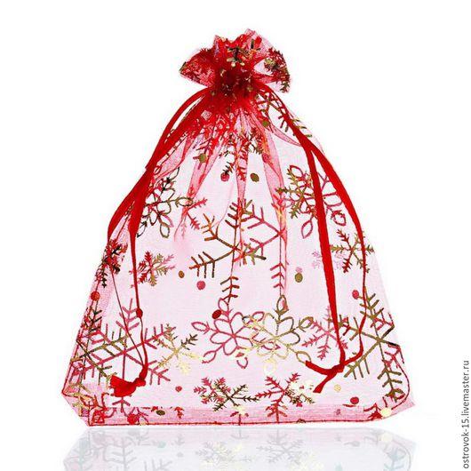 Упаковка ручной работы. Ярмарка Мастеров - ручная работа. Купить Мешочки из органзы белые красные с золотыми снежинками. Handmade. Комбинированный