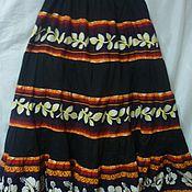Одежда ручной работы. Ярмарка Мастеров - ручная работа Юбка из хлопка Цветочный Танец-Хоровод длина 96 см. Handmade.