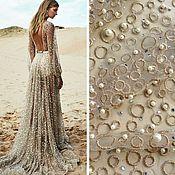 Материалы для творчества handmade. Livemaster - original item Festive lace embroidered with beads, Golden diva. Handmade.