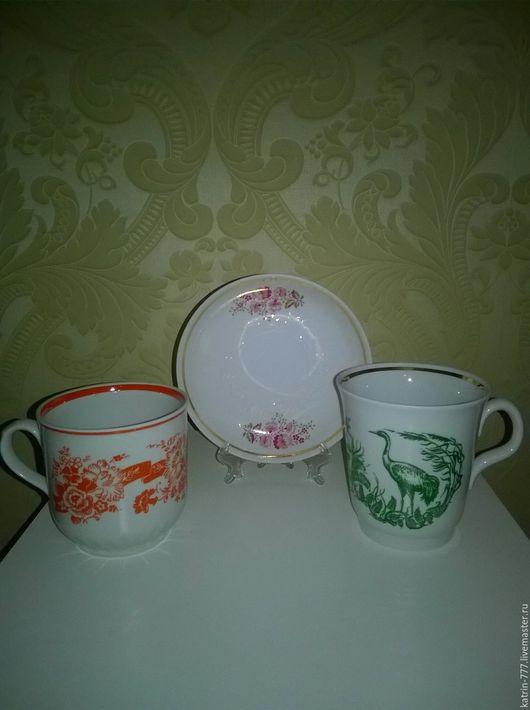 Винтажная посуда. Ярмарка Мастеров - ручная работа. Купить Советские чашки и блюдце. Handmade. Комбинированный, чашка для чая