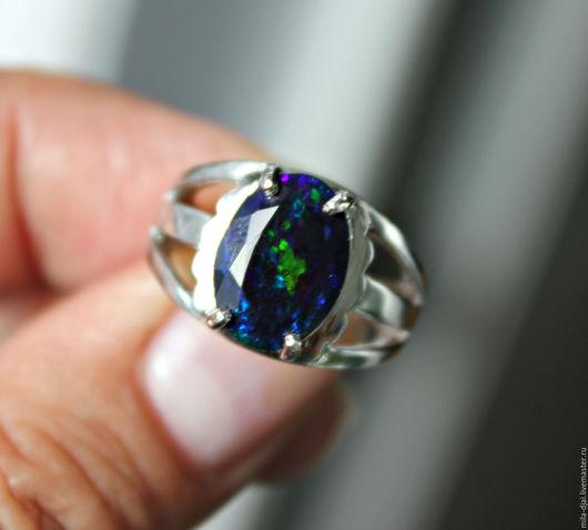 """Кольца ручной работы. Ярмарка Мастеров - ручная работа. Купить Кольцо """"Синий""""  опал. Handmade. Кольцо серебряное, мульти опал"""