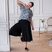 handmade. Livemaster - original item Small Flowered Cotton T-shirt Plus Size, Pant Skirt. Handmade.