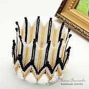 Украшения handmade. Livemaster - original item Bracelet beaded Crown white black gold. Handmade.