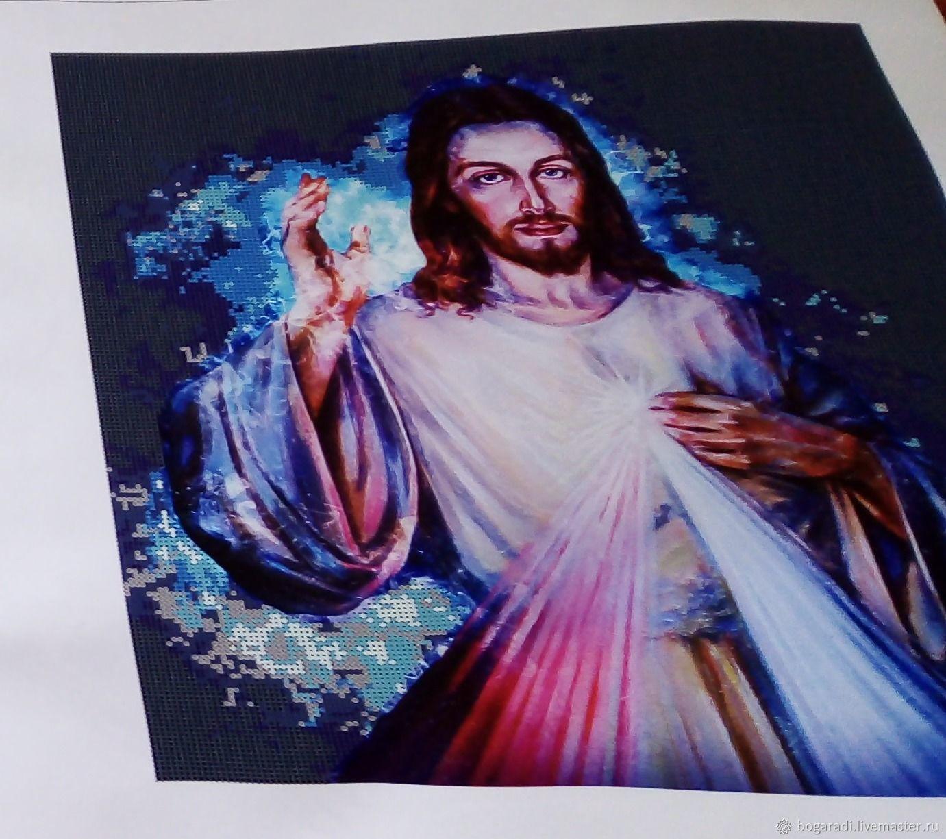 Холст с печатью премиум для вышивки бисером Иисус Хр. Свечение 40х42, Схемы для вышивки, Майма,  Фото №1