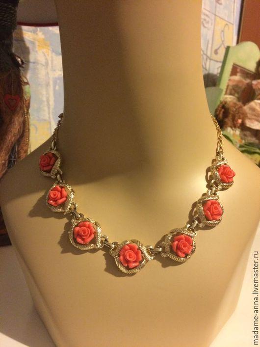 """Винтажные украшения. Ярмарка Мастеров - ручная работа. Купить Sarah Coventry Винтажное ожерелье """"Розы"""", редкое 1959 год!. Handmade."""