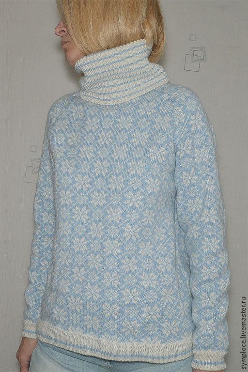 """Кофты и свитера ручной работы. Ярмарка Мастеров - ручная работа. Купить Свитер """"Снежинка"""". Handmade. Голубой, свитер, Жаккардовый узор"""