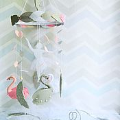 Работы для детей, handmade. Livemaster - original item The mobile in the crib felt - Swan lake. Handmade.