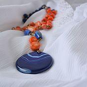 Работы для детей, handmade. Livemaster - original item Beads with a pendant Bright day natural stones. Handmade.