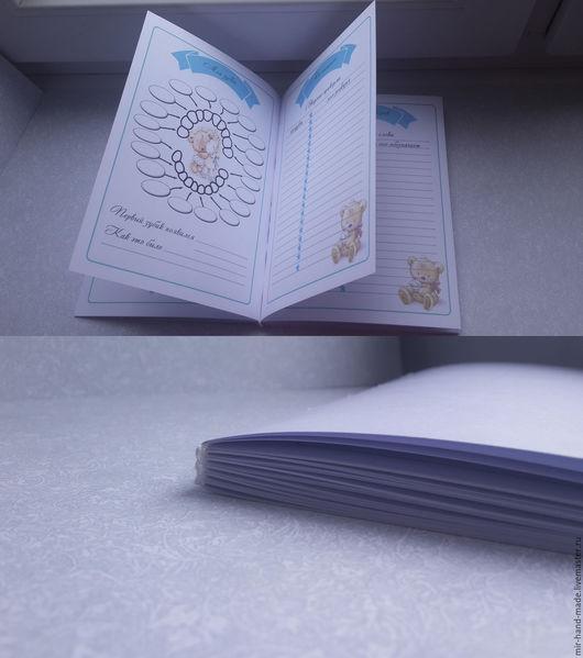 Открытки и скрапбукинг ручной работы. Ярмарка Мастеров - ручная работа. Купить Блок для блокнота Мамины заметки с мишками до года.. Handmade.