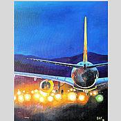 Картины и панно handmade. Livemaster - original item Oil painting on canvas cityscape Airport. Handmade.