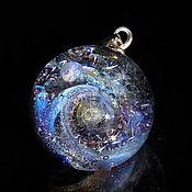 Украшения handmade. Livemaster - original item Pendant ball galaxy purple space 2. Silver Glass Universe Necklace. Handmade.