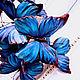 """Диадемы, обручи ручной работы. Ободок """" бабочки"""" шелк синий. Людмила (LuMary). Ярмарка Мастеров. Бабочки из шелка"""