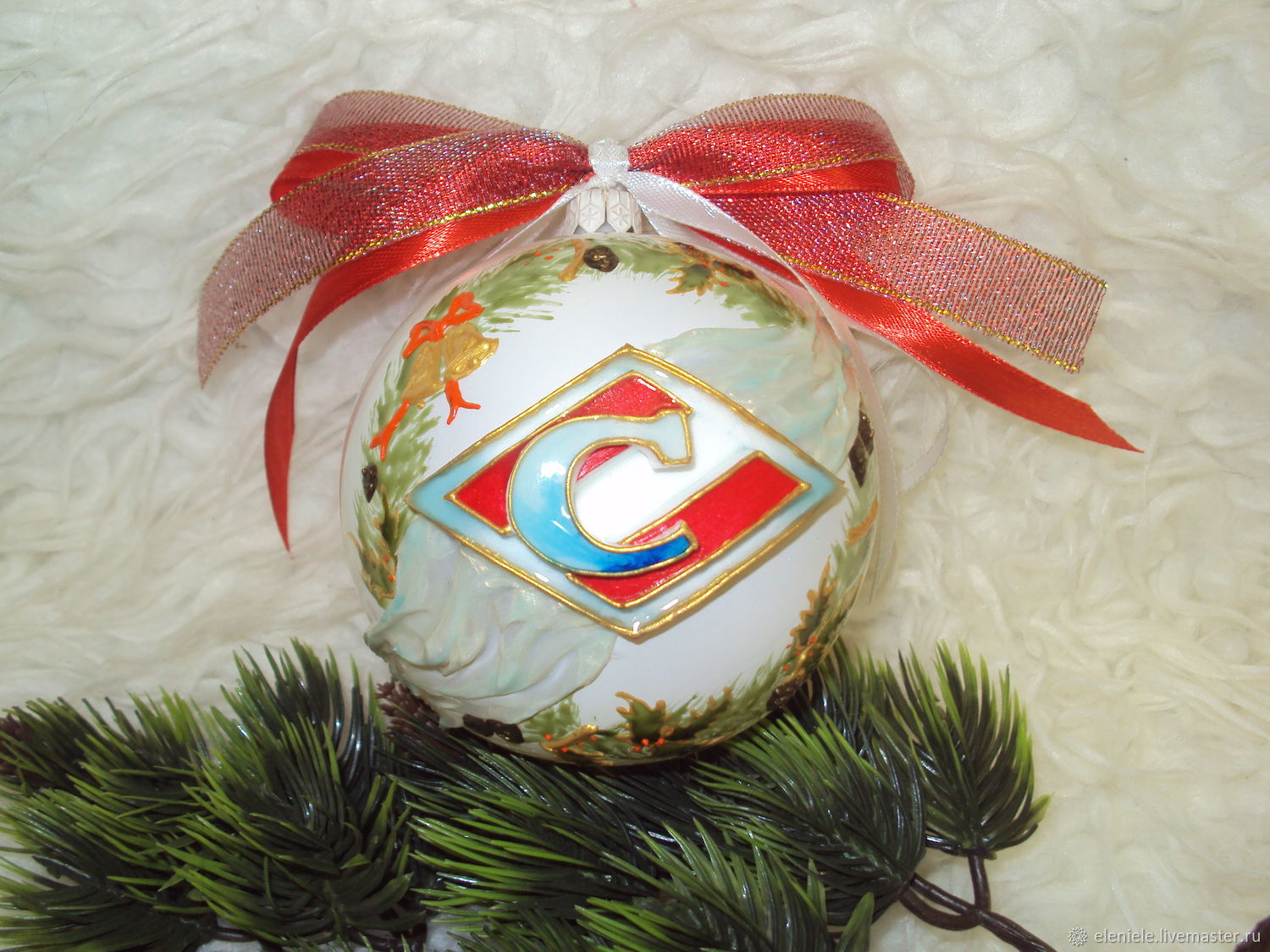 Ball glass Spartak painted, Christmas decorations, Moscow,  Фото №1