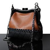 Сумка с фермуаром ручной работы. Ярмарка Мастеров - ручная работа Черная кожаная сумка, коричневая сумочка на фермуаре. Handmade.