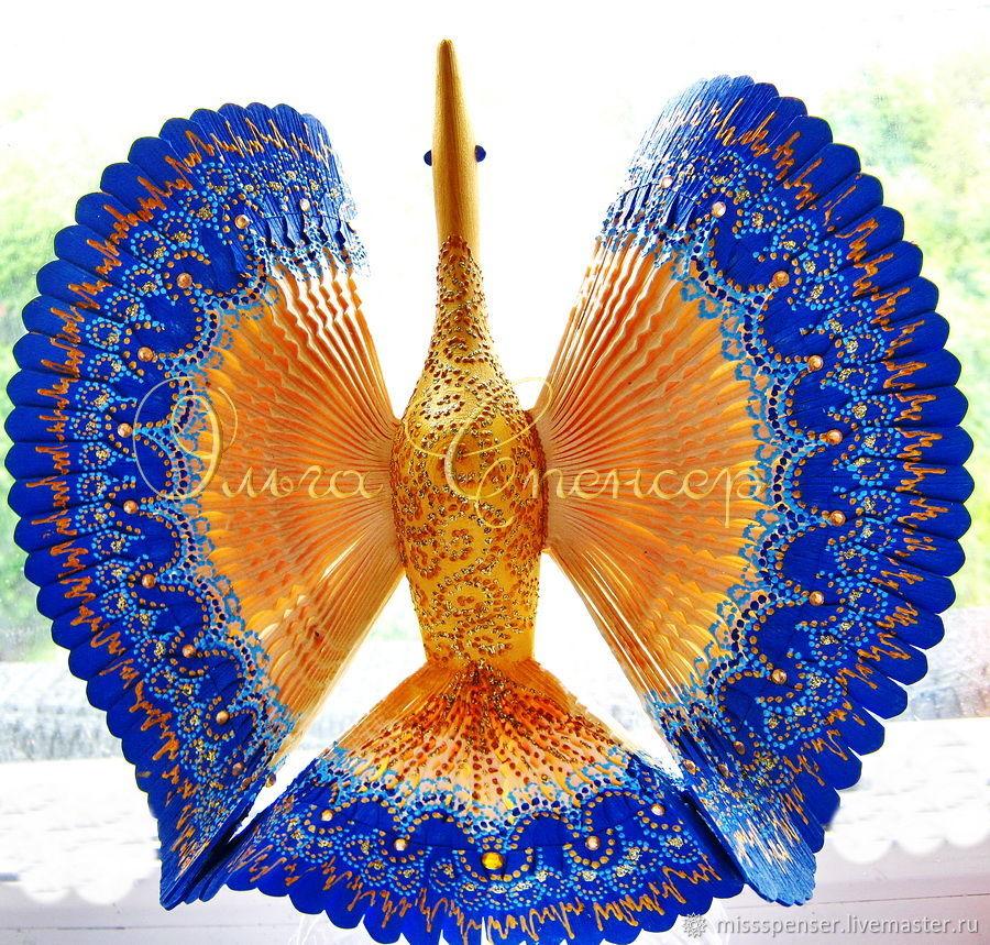 Синяя Птица счастья - домашний оберег, дерево, роспись, Народные сувениры, Москва,  Фото №1