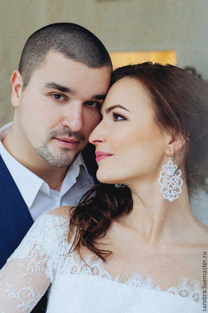 Крупные серьги свадебные