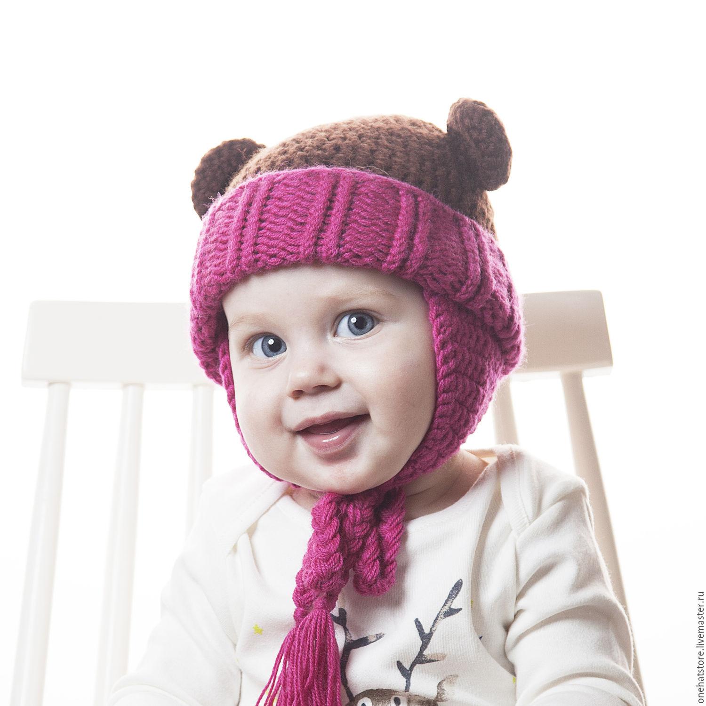 Теплая детская шапка с ушками вязаная спицами для мальчика 11