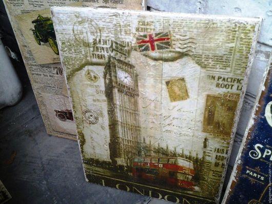 Город ручной работы. Ярмарка Мастеров - ручная работа. Купить Панно деревянное 30х40_LONDON W0193. Handmade. Комбинированный, состаренный стиль