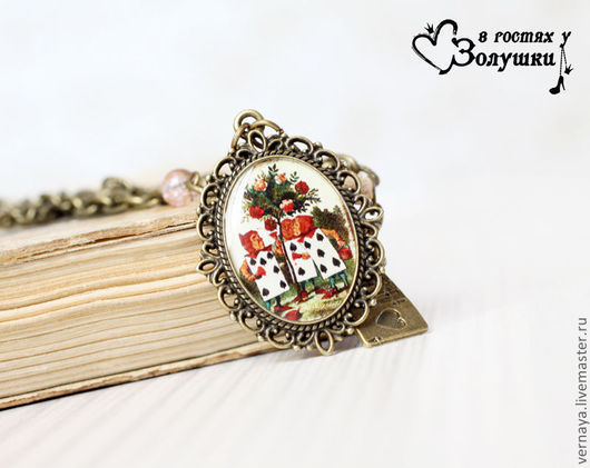 Pendants handmade. Livemaster - handmade. Buy Pendant 'Alice in Wonderland 2'.Alice, brown, card, glass bead