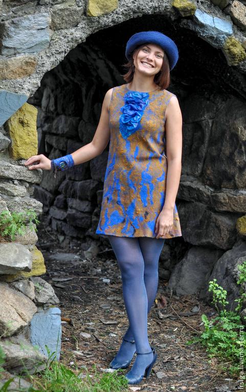 """Платья ручной работы. Ярмарка Мастеров - ручная работа. Купить Платье - туника """"Шелковый дождь"""". Handmade. Синий"""