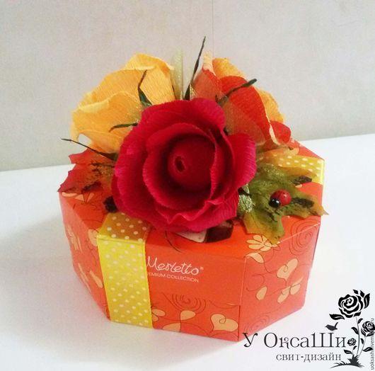 Персональные подарки ручной работы. Ярмарка Мастеров - ручная работа. Купить Оформление коробки конфет. Handmade. Оранжевый, оригинальный подарок