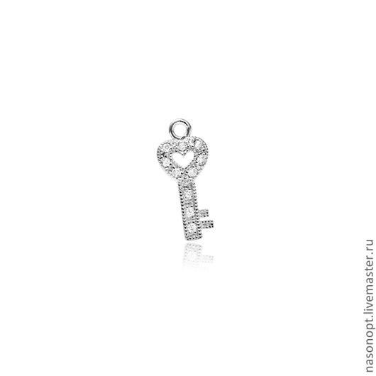 Серебряная вставка-ключик с циркониями