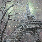 """Картины и панно ручной работы. Ярмарка Мастеров - ручная работа """"Tombe la neige...."""" (Снегопад)Картина на органзе.. Handmade."""