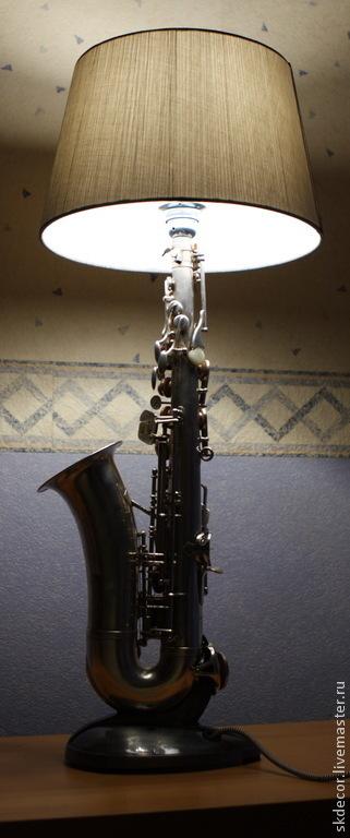 Освещение ручной работы. Ярмарка Мастеров - ручная работа. Купить Настольная лампа саксофон. Handmade. Настольная лампа, бра, бра