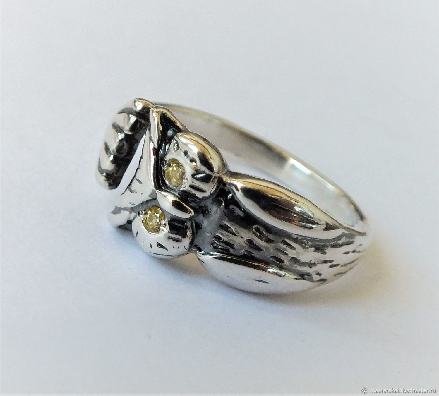 Ring: ' Owl ' - 925 silver, Swarovski crystals, Rings, Moscow,  Фото №1