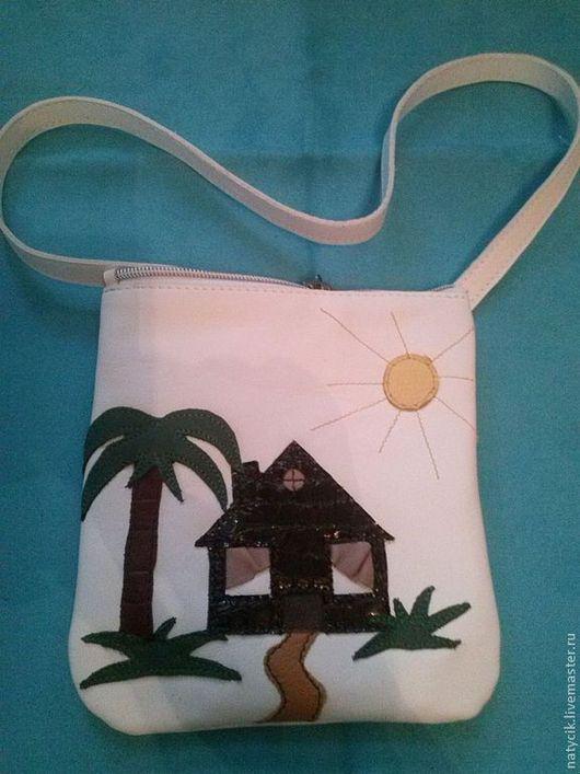 Женские сумки ручной работы. Ярмарка Мастеров - ручная работа. Купить сумочка  из натуральной кожи. Handmade. Белый, аппликация из кожи