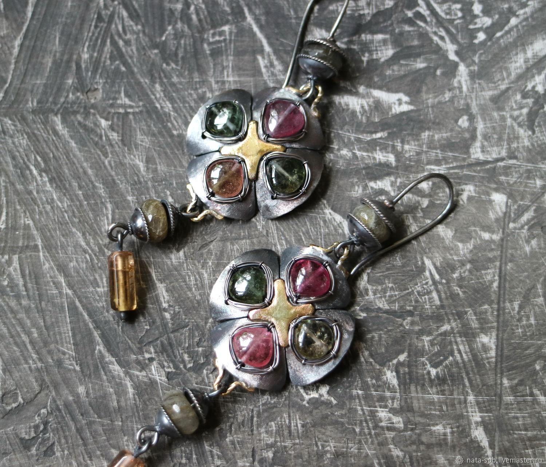 Серьги ручной работы. Ярмарка Мастеров - ручная работа. Купить TARTAN серьги (серебро, латунь, турмалины). Handmade. Винтаж, яркие