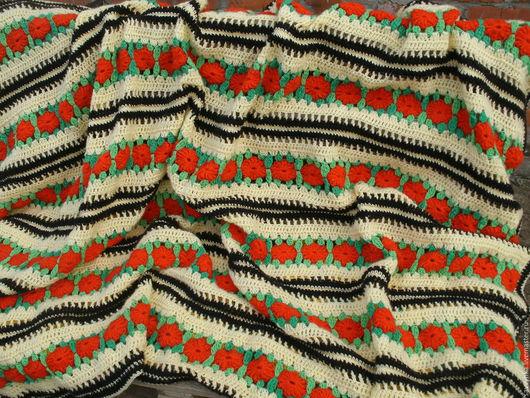 """Текстиль, ковры ручной работы. Ярмарка Мастеров - ручная работа. Купить Плед """"Солнечные цветы"""". Handmade. Плед вязаный, комбинированный"""