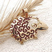 Украшения handmade. Livemaster - original item Pendant Sheep bronze enamel. Handmade.
