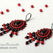 Украшения handmade. Livemaster - original item Earrings beaded with agate Carmen red black. Handmade.