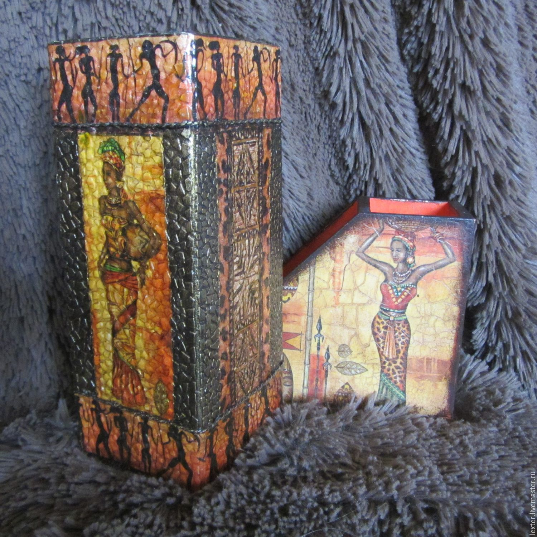 Вазы ручной работы. Стеклянная ваза Африка