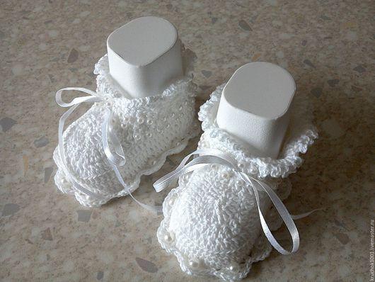 """Носки, гольфы, гетры ручной работы. Ярмарка Мастеров - ручная работа. Купить Пинетки """" Бусинки"""". Handmade. Белый"""