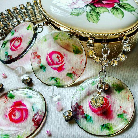 Серьги ручной работы. Ярмарка Мастеров - ручная работа. Купить Розовый цвет Серьги прозрачные. Handmade. Розовый, подарок девочке